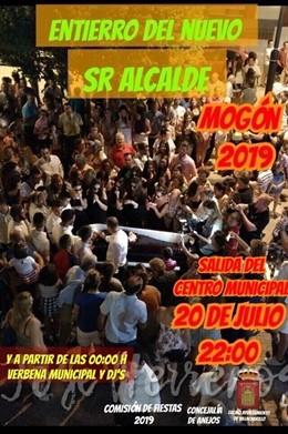 Cartel del entierro del alcalde de Mogón