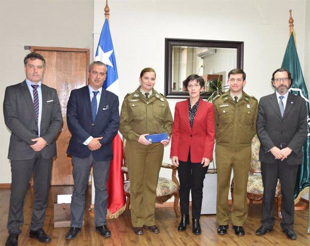 La consejera de Seguridad del Gobierno Vasco, Estefanía Beltrán de Heredia, visita el Centro de Control y Tratamiento de Datos Policiales de Chile