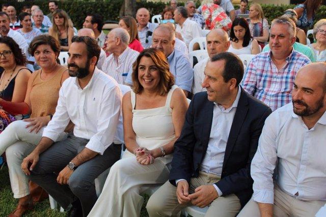 Daniel Pérez, Susana Díaz y José Luis Ruiz Espejo en un acto en Málaga