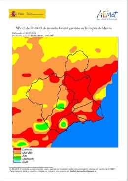 Imagen del mapa de la Región con el reparto de riesgo de incendio forestal