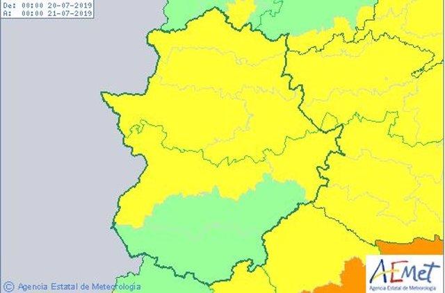 Alertas de Extremadura para el 20 de julio