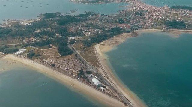Imagen aérea de A Illa de Arousa durante la celebración del Atlantic Fest