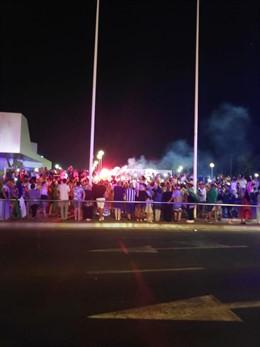 Celebración de 1.000 aficionados de Argelia por la Copa África