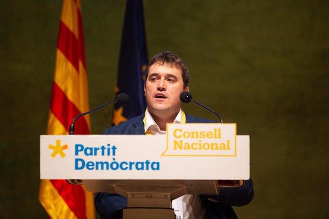 El president del PDeCAT, David Bonvehí, en la seva intervenció davant el consell nacional del partit.