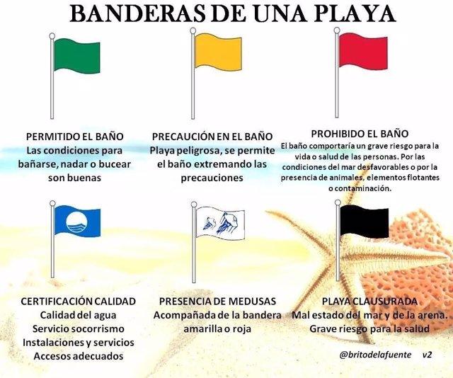 Infografía sobre banderas de una playa