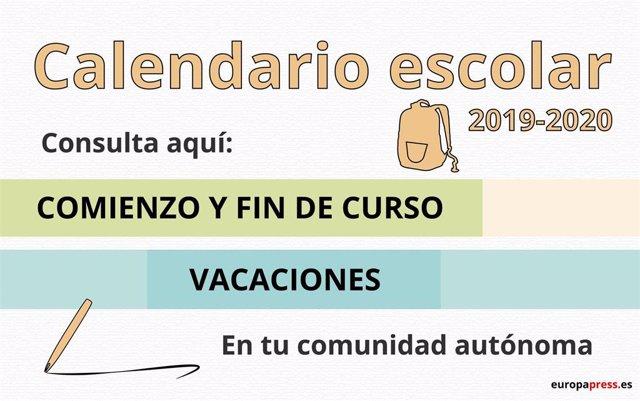 Calendario Laboral Jaen 2020.Calendario Escolar 2019 2020 Por Comunidades Navidad Semana Santa Y Vacaciones De Verano