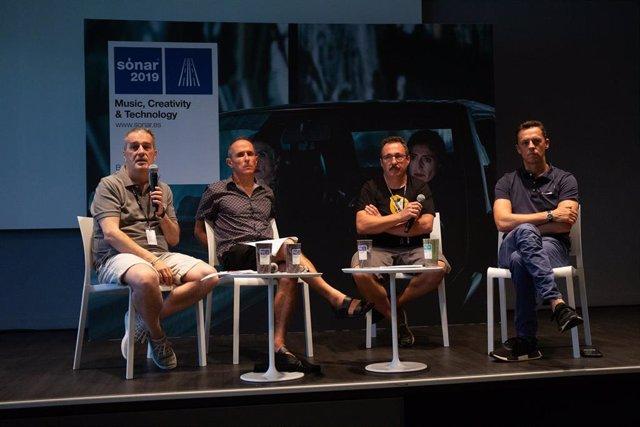Los directores del Sónar Ricardo Robles, Enric Palau y Sergio Caballero, y el director ejecutivo de Advanced Music, Ventura Barba, en rueda de prensa