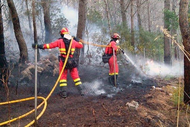 Efectivos trabajando en el incendio de la Serra de 2013