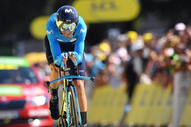 19 July 2019, France, Pau: Spanish cyclist Alejandro Valverde of Movistar Team in action during the thirteenth stage of the 106th edition of the Tour de France cycling race, a 27.2 km individual time trial in Pau. Photo: David Stockman/BELGA/dpa
