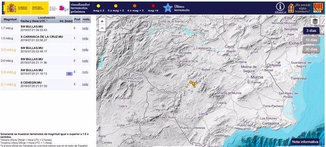 Imagen de la ubicación de los terremotos y su descripción