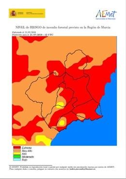 Mapa que refleja el riesgo de incendio forestal en la Región