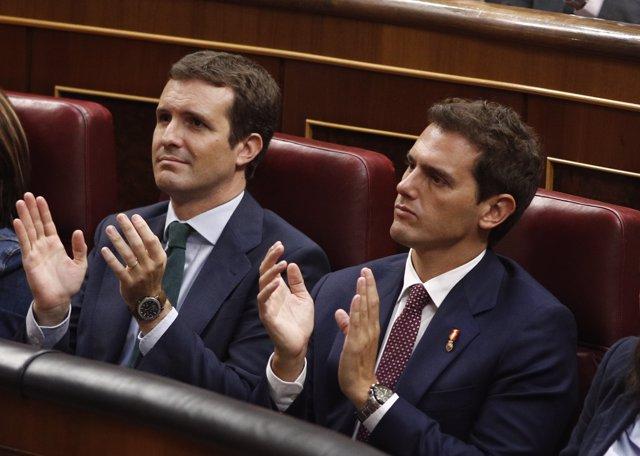 Pablo Casado y Albert Rivera en el Congreso de los Diputados
