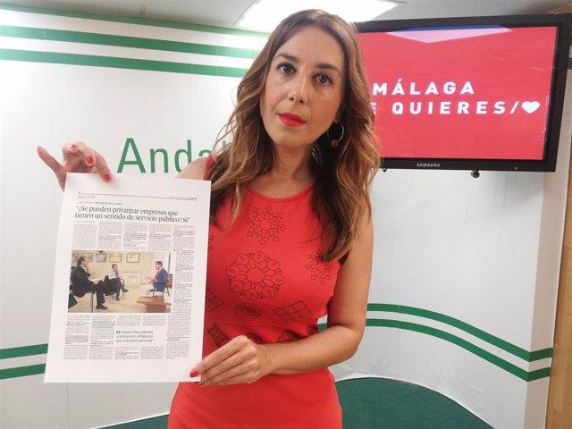 La secretaria de Políticas Migratorias y Andaluces en el Exterior del PSOE-A, Beatriz Rubiño, en rueda de prensa.