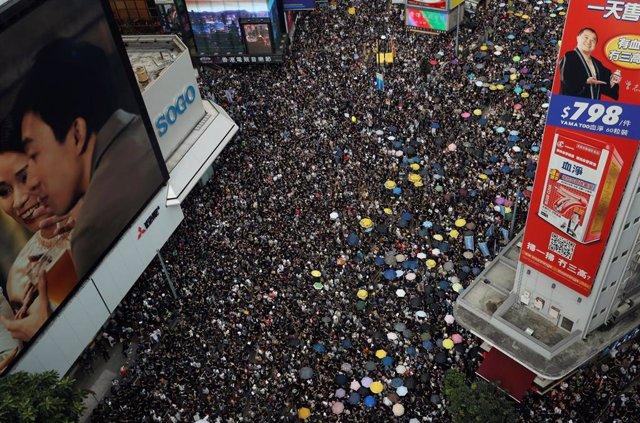 Manifestación en Hong Kong contra la ley de extradición a China