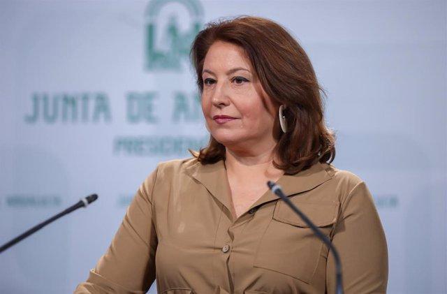 Rueda de prensa posterior al Consejo de Gobierno.  la consejera de Agricultura,Ganadería, Pesca y Desarrollo Sostenible, Carmen Crespo.