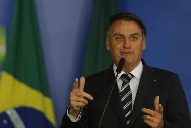 30 April 2019, Brazil, Brasilia: Brazilian President Jair Bolsonaro speaks during a Governmental event at the Planalto Palace. Photo: O Globo/GDA via ZUMA Wire GDA via ZUMA Wire/dpa