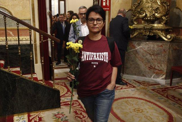 Diputados de ERC acuden al Congreso con flores amarillas