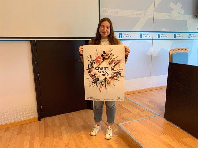 La directora xeral de Xuventude, Cristina Pichel, durante la presentación del certamen 'Xuventude Crea 2019' este lunes