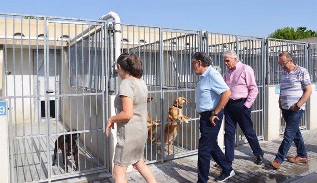 Concejales del PSOE visitando el Centro de Protección Animal.