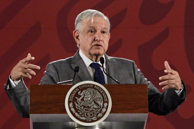 18 July 2019, Mexico, Mexico City: Mexican president Andres Manuel Lopez Obrador speaks during a press conference on Photo: Javier Lira/NOTIMEX/dpa