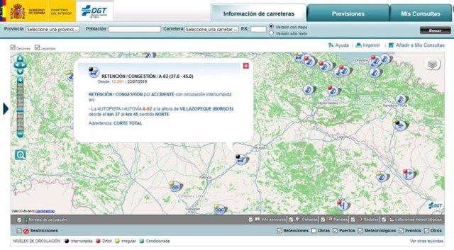 Captura de pantalla del servicio de la DGT facilitada por el 1-1-2.