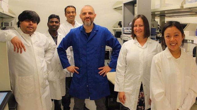 El equipo de laboratorio de Navedo está identificando cómo la diabetes aumenta los riesgos de enfermedades graves, como enfermedades cardíacas y accidentes cerebrovasculares. De izquierda a derecha, Debapriya Ghosh, Gopireddy Reddy, Arsalan Syed, Manuel N