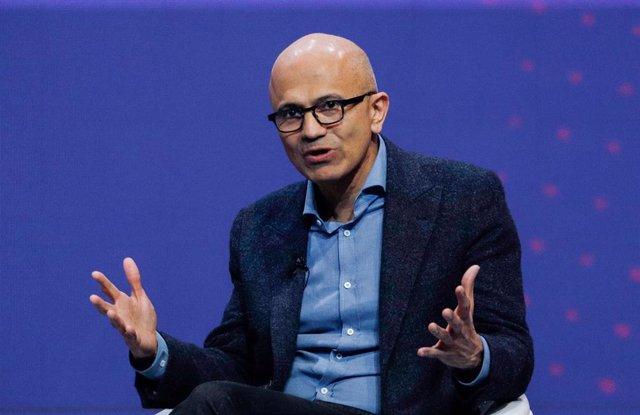 25 February 2019, Spain, Barcelona: The Chief Executive Officer of Microsoft Satya Nadella, speaks at the Mobile World Congress. Photo: Clara Margais/dpa