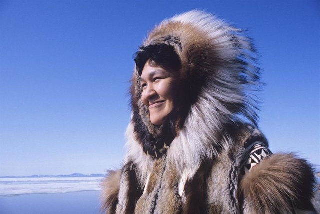 Eskimo Woman In Traditional Clothing