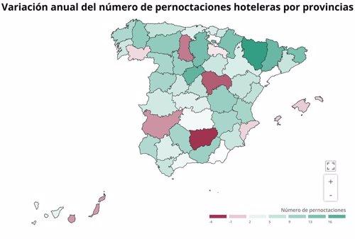 EpData.- Las pernoctaciones y la ocupación hotelera en junio, en mapas y gráficos