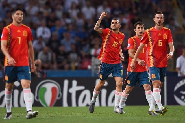Dani Ceballos celebra uno de sus goles en el pasado Europeo Sub-21
