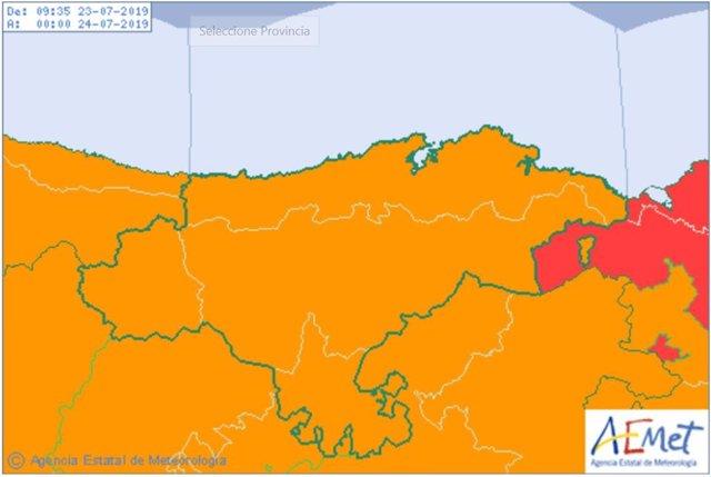 Alerta naranja por tormentas en Cantabria
