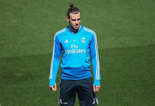 Gareth Bale durante un entrenamiento del Real Madrid
