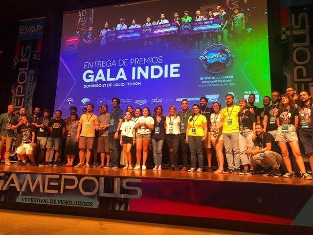 Ganadores y participantes de la Gala Indie de Gamepolis 2019