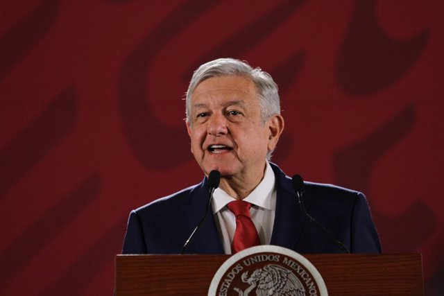22 July 2019, Mexico, Mexico City: Mexican president Andres Manuel Lopez Obrador speaks during a press conference. Photo: Guillermo Granados/NOTIMEX/dpa