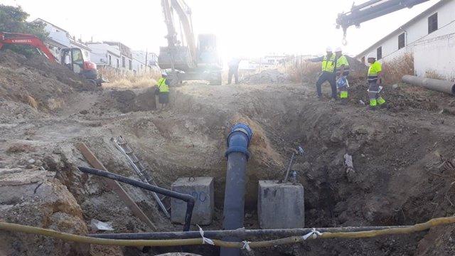 Obras en la tubería principal de Monrtilla