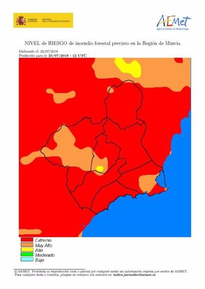 El nivel de riesgo de incendio forestal previsto para este miércoless en la Región de Murcia es extremo