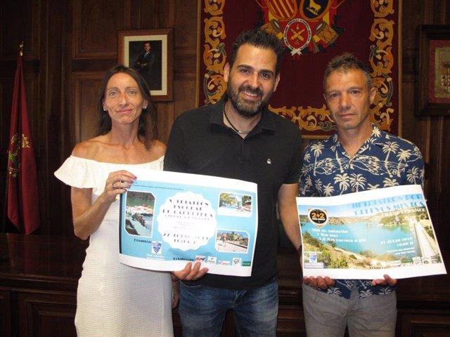 Las dos pruebas de triatlón se han presentado este miércoles en el Ayuntamiento de Teruel y se celebrarán este sábado, día 27 de julio, en el entorno del pantano del Arquillo.