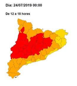 Mapa de Catalunya en ola de calor