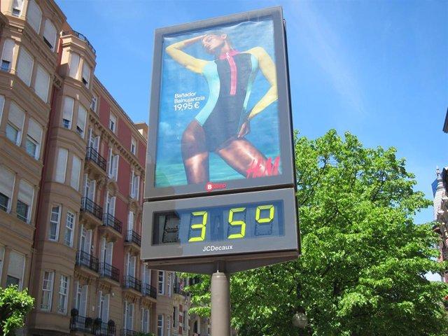 Termómetro marca 35 grados