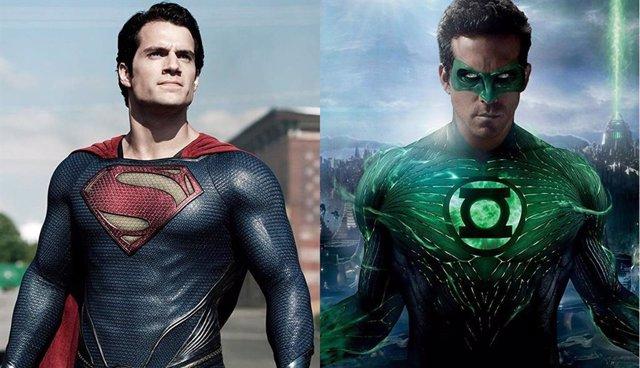 Imagen de Henry Cavill como Superman en El hombre de acero y Ryan Reynolds en Linterna Verde