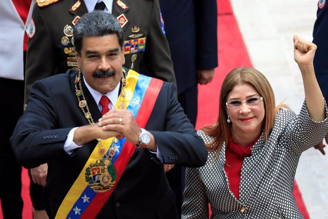 Venezuela's President Maduro attends a special session to take oath as re-elected President at the Palacio Federal Legislativo in Caracas
