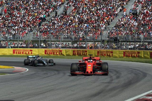 Sebastian Vettel y Lewis Hamilton durante el pasado Gran Premio de Canadá