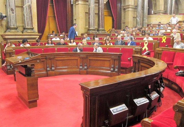 El conseller Miquel Buch i el president de la Generalitat, Quim Torra, en el ple del Parlament