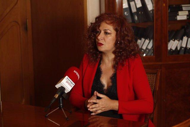 La presidenta de la SGAE, Pilar Jurado, druante una entrevista para Europa Press.