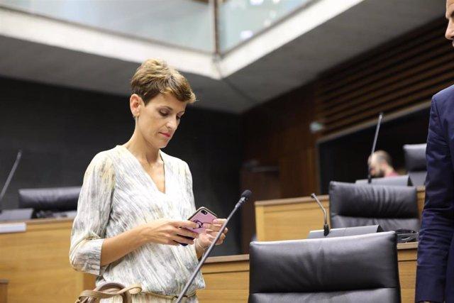 La secretaria general del PSN, María Chivite, en el pleno de constitución del Parlamento de Navarra