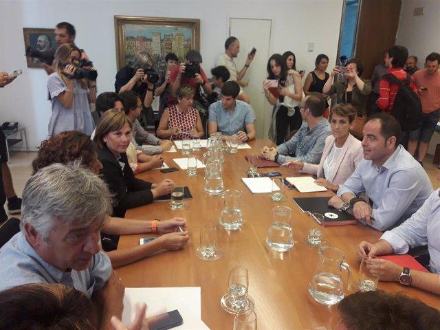 Reunió de PSN, Geroa Bai, Podem i Esquerra-Ezkerra per intentar tancar un acord sobre l'estructura del Govern