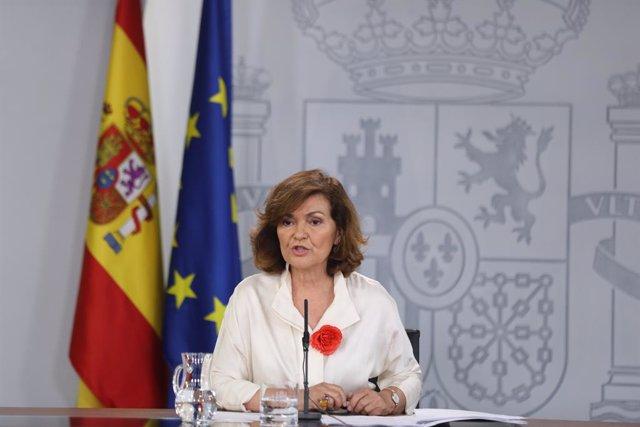 La vicepresidenta del Govern en funcions, Carmen Calvo, compareix davant els mitjans de comunicació després de la reunió del Consell de Ministres en Moncloa, celebrada un dia després a la segona votació fallida a la investidura del candidat socialista a l