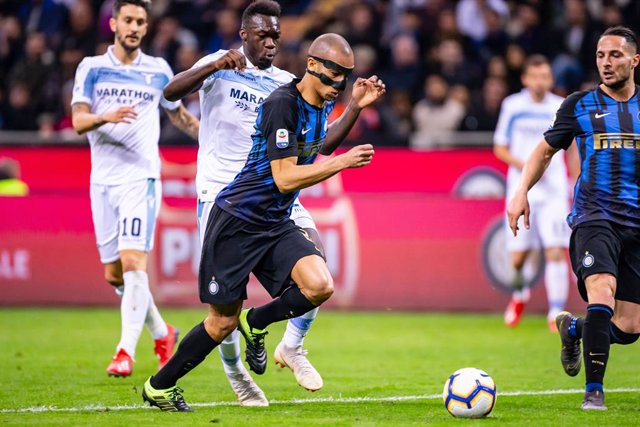 Joao Miranda of Inter Milan and Felipe Caicedo of Lazio during the Italian championship Serie A football match between FC Internazionale and SS Lazio on March 31, 2019 at Giuseppe Meazza stadium in Milan, Italy - Photo Morgese - Rossini / DPPI