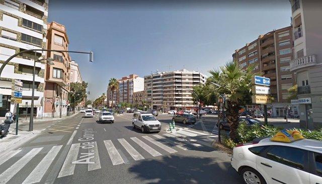 Cruce de las avenidas Pérez Galdos y Giorgeta con la calle Jesús de València