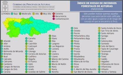 Una docena de municipios asturianos presentan este lunes riesgo alto de incendio forestal